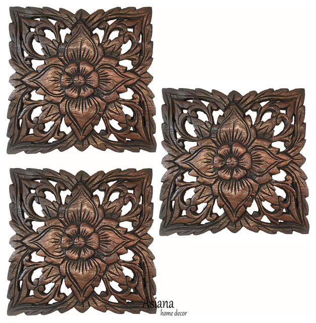 Wood Carved Wall Hanging Small Square