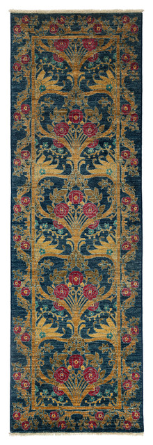 arts and crafts wool runner rug navy 2 39 7 x8 39 0 hall