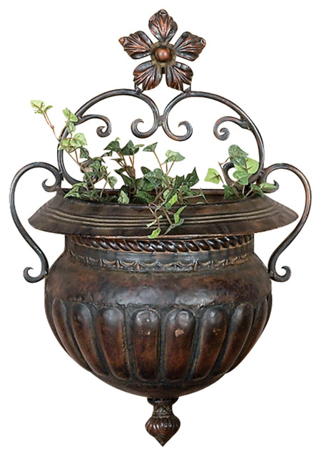 Antique Style Flower Wall Planter Traditional Outdoor