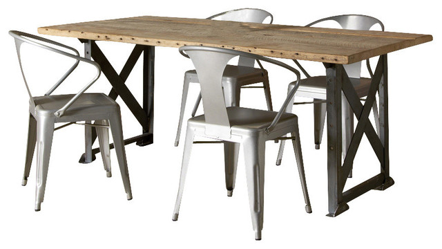 Industrial Factory Reclaimed Wood Table Contemporary