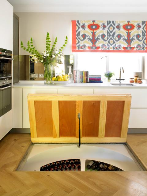 wine cellar basement hatch in kitchen floor