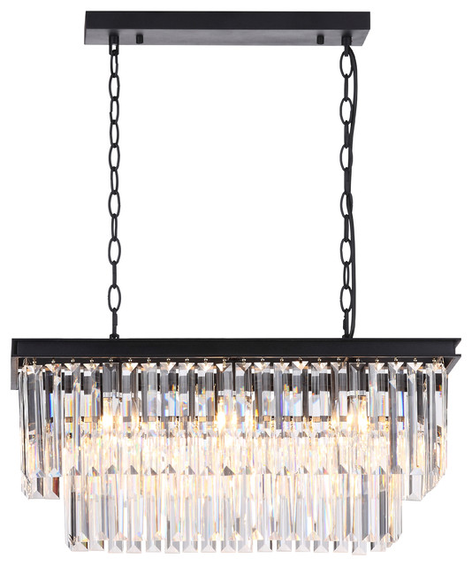 Shannon Rectangular Crystal Island Chandelier, Black.