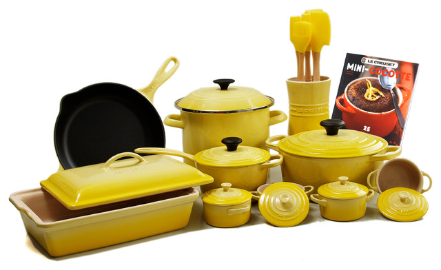 Superb Le Creuset 24 Piece Cookware Set With 4.5 Quart French Oven, Soleil Yellow  Traditional