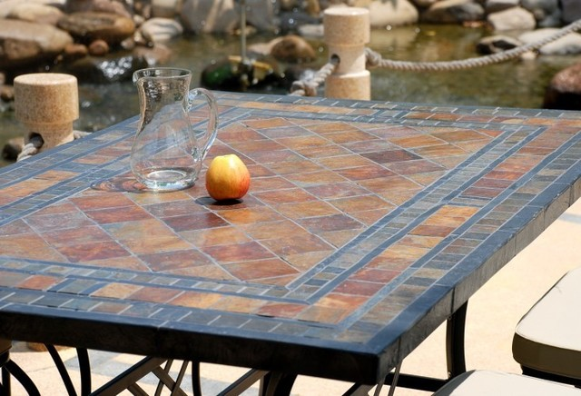 78u0026quot; Outdoor Patio Slate Stone Mosaic Dining Table - MAPLE ...