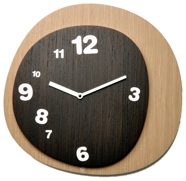 Woodie Light WoodDark Wood Wall Clock Midcentury