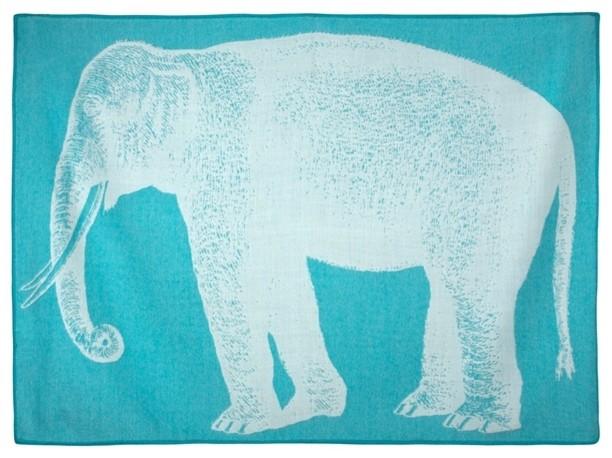 Elephant Baby Throw, Aqua.