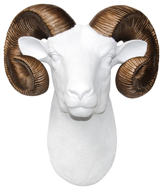 Faux White Ram Head With Bronze Horns Wall Decor And