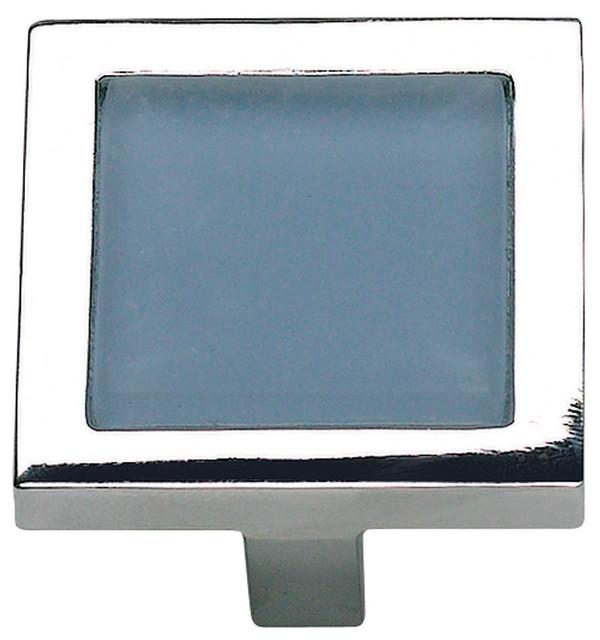 Spa Blue Square Knob 230-BLU, Polished Chrome