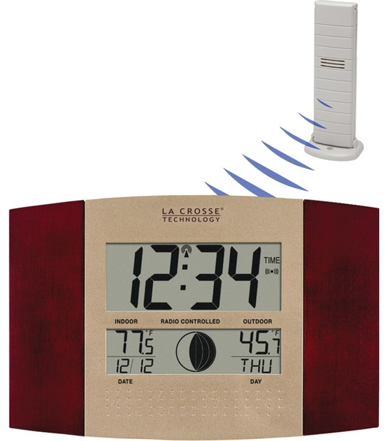Digital Atomic Wall Clock Indoor And Outdoor Temperature Cherry Wood Finish Contemporary Decorative Thermometers By Diddly Deals