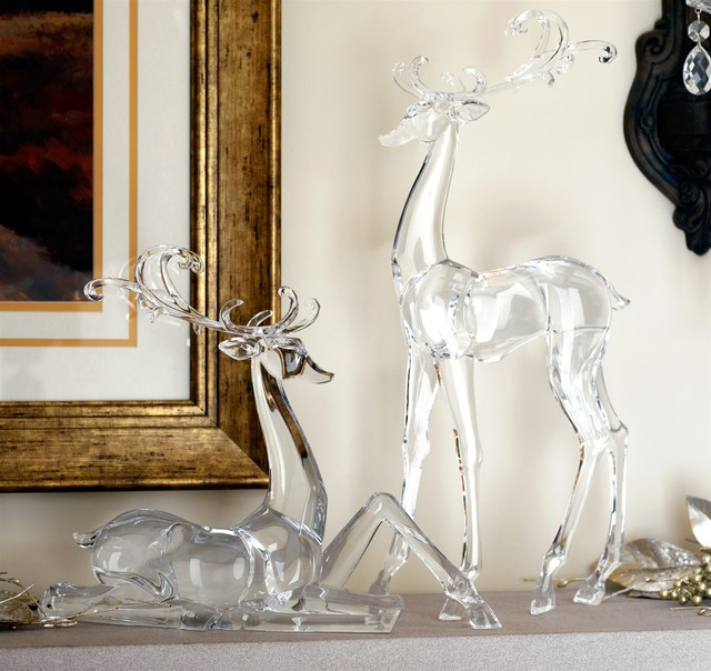 Set Of 2 - Acrylic Standing & Sitting Deer For Modern Christmas Look.