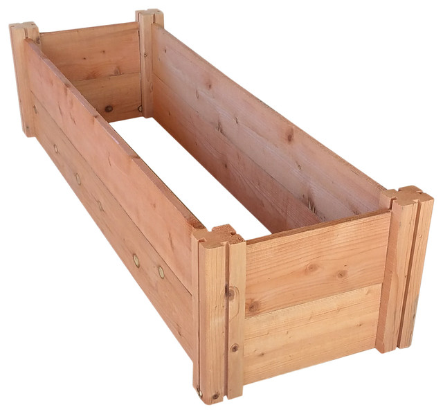 Grogardens 1 X4 X11 Redwood Raised Garden Bed Transitional Outdoor Pots And Planters By