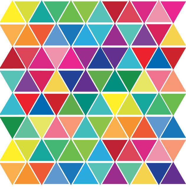 Mini Rainbow Color Triangle Wall Decals, Eco-Friendly Reusable Fabric Decals, 1.