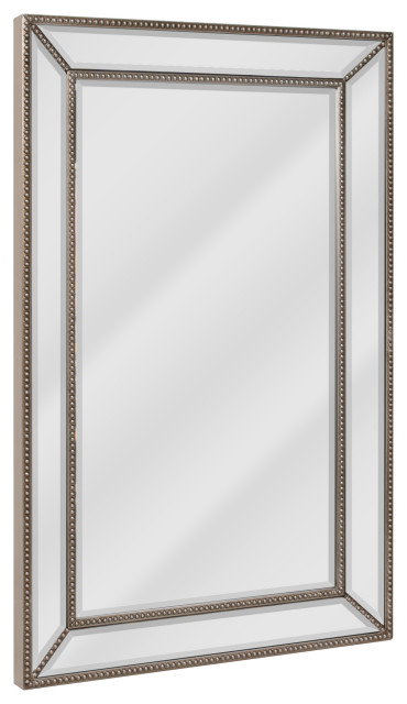 Head West Beaded Champagne Silver Beveled Wall Mirror - 24x36