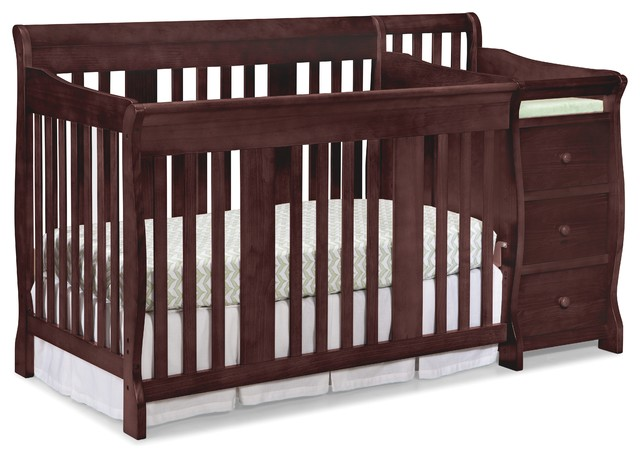 Superior Storkcraft Portofino 4 In 1 Convertible Crib And Changer, Cherry