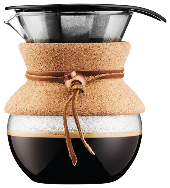 Pour Over Coffee Maker With Built In Filter : Bodum USA, Inc. Bodum Pour Over Coffee Maker With Permanent Filter and Cork Band, 17 oz ...