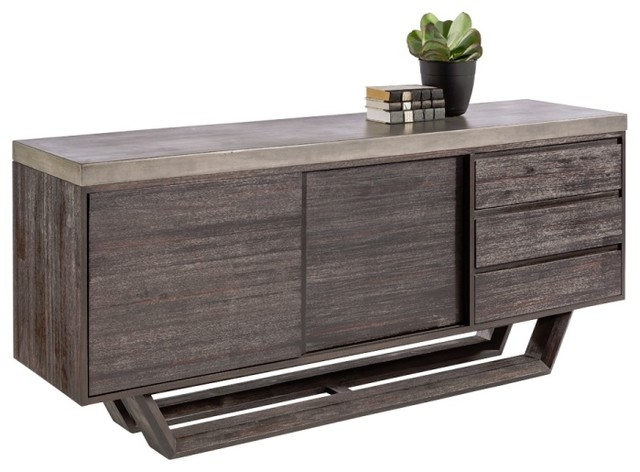 concrete cabinets kitchen sideboard with sealed concrete and solid acacia wood 2420