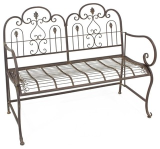Provence Metal Folding Garden Bench Seat, Warm Brown, Cushion Not Included