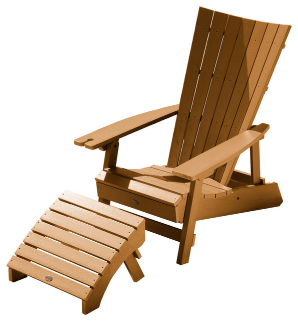 Manhattan Beach Adirondack Chair With Wine Holder And Ottoman Toffee
