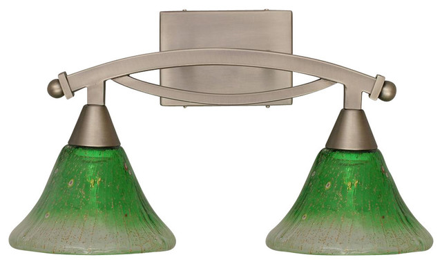 Toltec Lighting Bow Bath Bar With Kiwi Green Crystal Glass - Bathroom Vanity Lighting Houzz