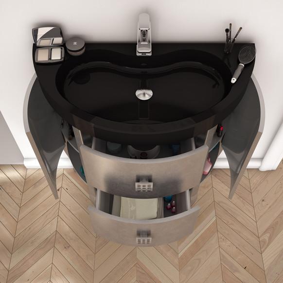 """macral sena 32"""" bathroom vanity with storage. silver."""