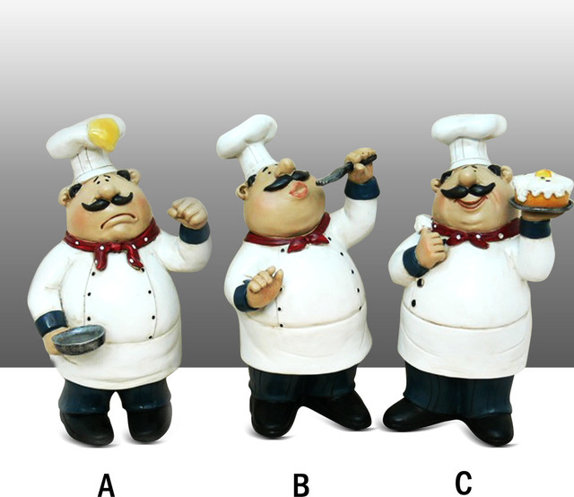 Chef Kitchen Statue With Pancake On Head Table Top Art Figurine Complete Set Traditional Kitchen