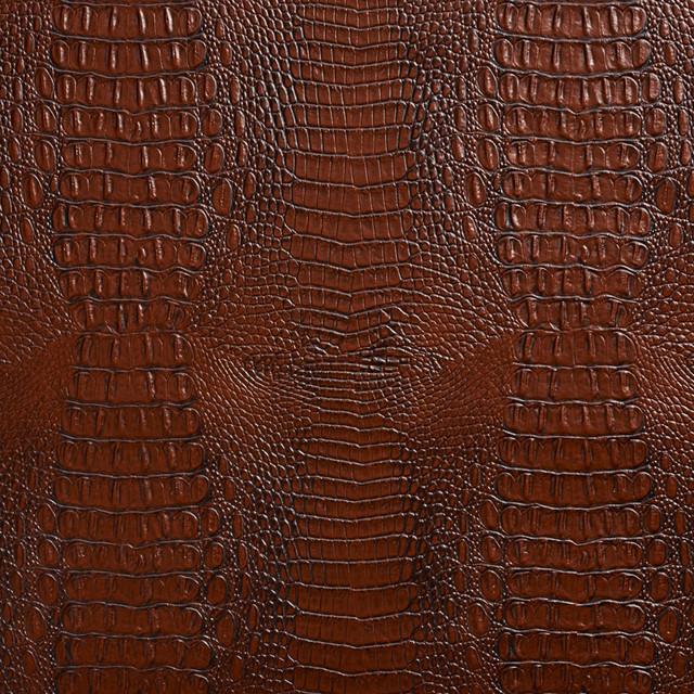 Sienna Brown Crocodile Faux Leather Vinyl By The Yard