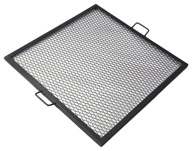 """Sunnydazex-Marks 24"""" Square Fire Pit Cooking Grill."""