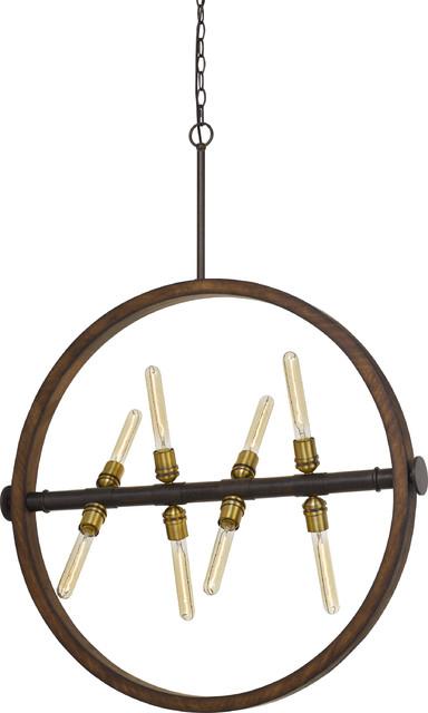 "Teramo 43.63"" Height Wood and Metal Chandelier, Wood/Iron"