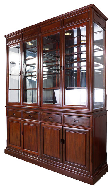Consigned Chinese Antique Rosewood China Cabinet 17lp22