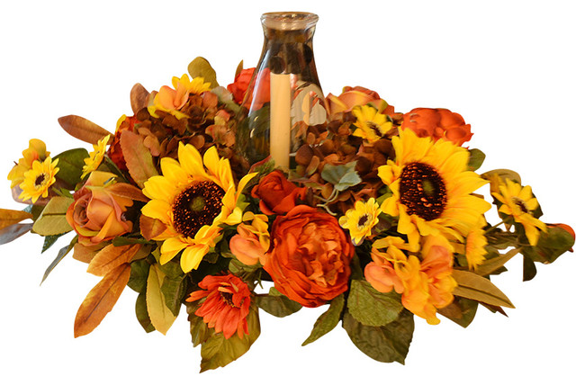 Sunflower Thanksgiving Centerpiece Traditional Artificial Flower Arrangements By Floral