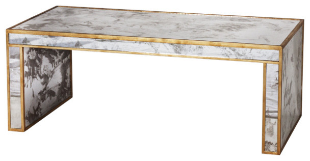 Spencer Hollywood Regency Antique Gold Mirror Coffee Table