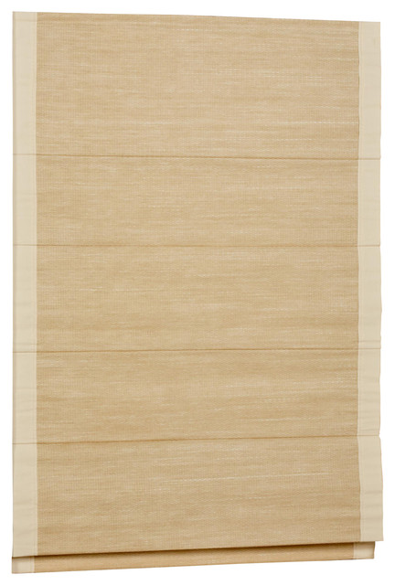 Hampton Woven Cane Paper Thermal Backed Cordless Roman Shade, Sand Border, 27x63.