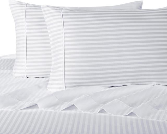 1200 Thread Count Egyptian Cotton Stripe Bed Sheet Set, Twin, White