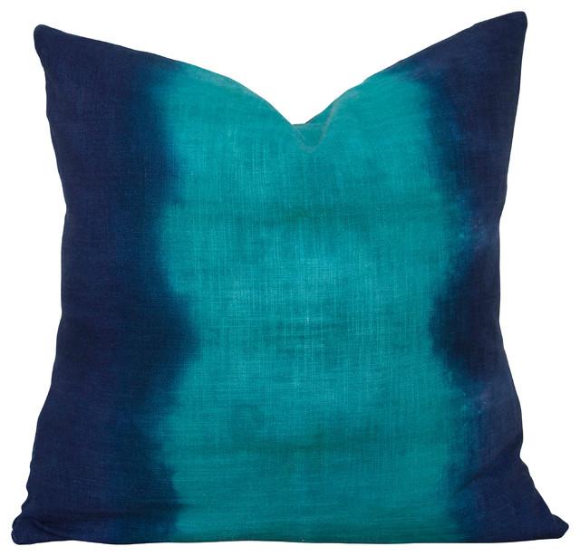 Emerald and Indigo Stripe Pillow