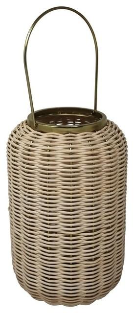 """Sagebrook Home 11"""" Metal W/Rattan Lantern,Beige"""