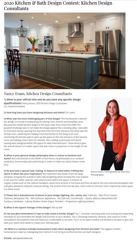2020 Kitchen & Bath Design Contest: Kitchen Design Consultants