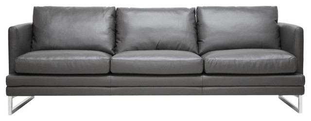 Delicieux Dakota Pewter Gray Leather Modern Chair, Sofa