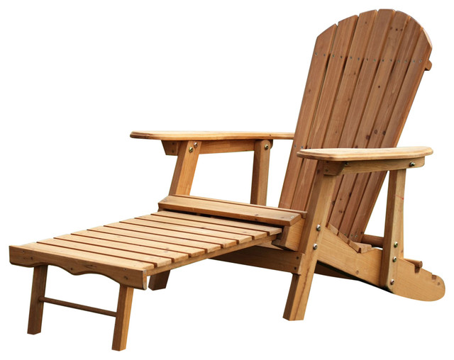 Outdoor Adirondack Chair Recliner With Slide Out Ottoman In Kiln Dried Fir  Wood