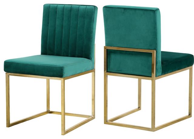 Armaya Velvet Dining Chairs, Set of 2, Green, Gold Base