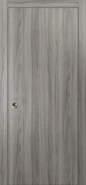 "Interior Sliding Closet Wood Pocket Door Ginger Ash Gray, 30""x80""."