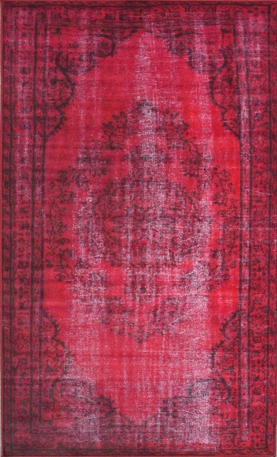 """nuLOOM Red Vintage Inspired Overdyed DIRE1E Area Rug, Rectangular 5' 5""""x8' 2"""""""