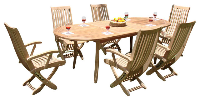 """7-Piece Outdoor Teak Dining Set, 94"""" Extension Oval Table"""
