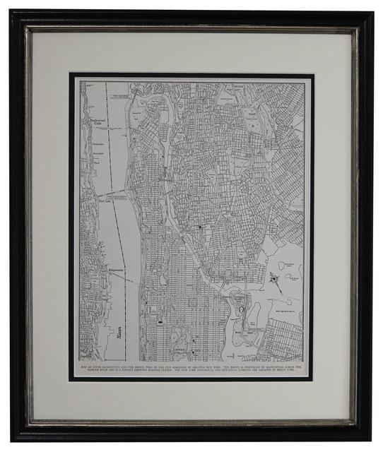 Original Vintage Framed Map Of Upper Manhattan, Ny, 1946.