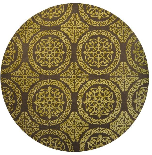 Contemporary satara round 7 39 9 round dark gray yellow area for Round contemporary area rugs
