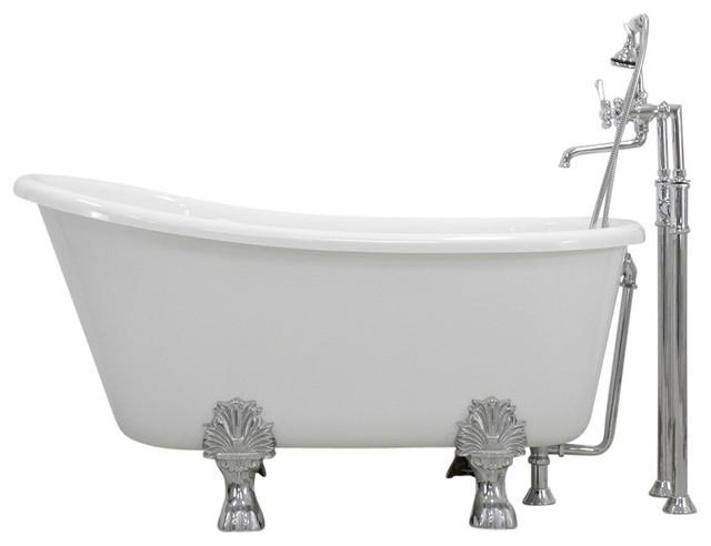 Gilla Coreacryl White Swedish Slipper Clawfoot Bathtub Package W/ Medici Feet, 5.