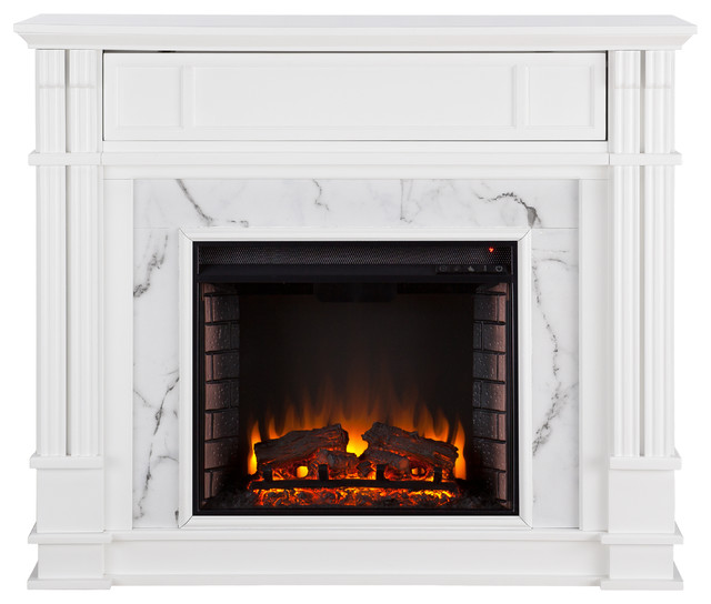 Aragon Faux Cararra Marble Media Fireplace, Electric.