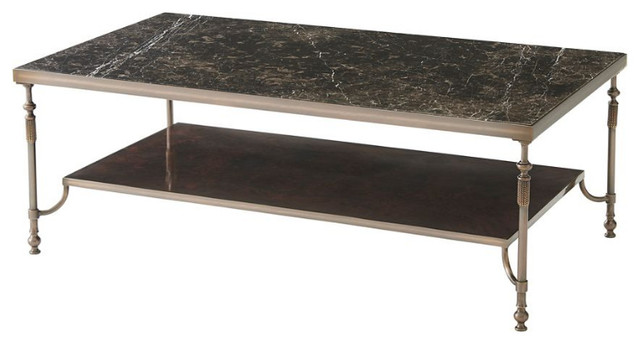 Marble Top Brass Coffee Table.Marble Top Brass Cocktail Table
