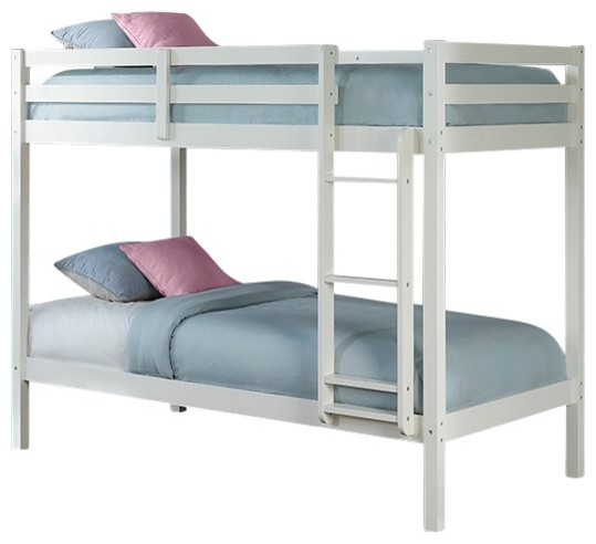 East Village Twin Over Twin Bunk Bed, White.
