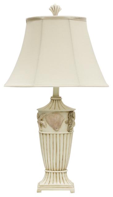 Table Lamp Cream Finish Cream Fabric Shade Beach Style