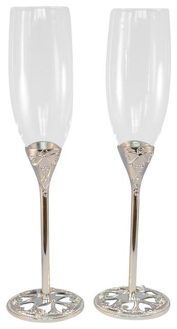 Wedding Toasting Flutes Set Of 2 Traditional Wine Glasses